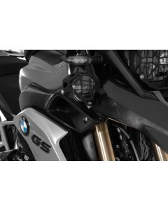 Set of LED auxiliary headlights, fog right/full beam headlight left, black aluminium for BMW R1200GS from 2013