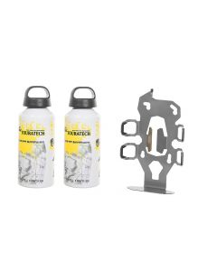 "ZEGA Pro2 accessory holder ""bottle holder"" double with 2x Touratech aluminum bottle 0.6 litres"