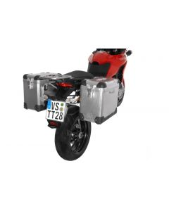 ZEGA Pro aluminium pannier system 31/31 litres with stainless steel rack for Ducati Multistrada 1200 up to 2014