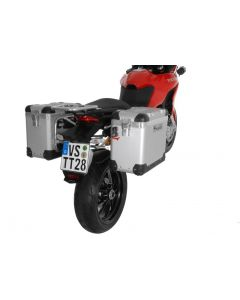 """ZEGA Pro aluminium pannier system """"And-S"""" 38/38 litres with stainless steel rack for Ducati Multistrada 1200 up to 2014"""