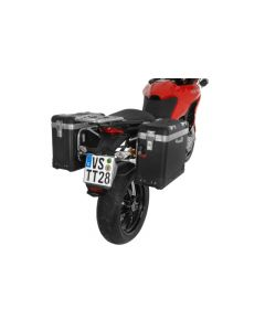 """ZEGA Pro aluminium pannier system """"And-Black"""" 38/38 litres with stainless steel rack for Ducati Multistrada 1200 up to 2014"""