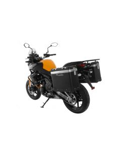 "ZEGA Pro aluminium pannier system ""And-Black"" 31/31 liter with steel rack black for Kawasaki Versys 650 (2010-2014)"