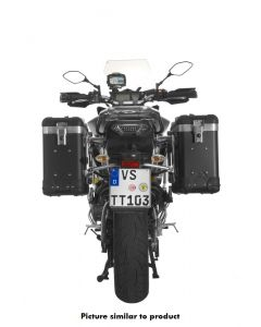 """ZEGA Pro aluminium pannier system """"And-Black"""" 31/31 litres with stainless steel rack black for Yamaha MT-09 Tracer (2015-2017)"""