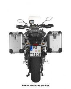 """ZEGA Pro aluminium pannier system """"And-S"""" 38/38 litres with stainless steel rack black for Yamaha MT-09 Tracer (2015-2017)"""